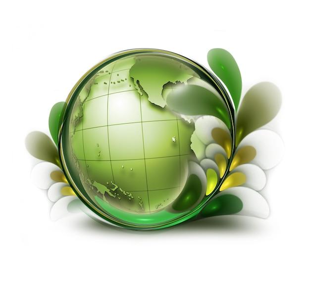 흰색 바탕에 잎이 있는 녹색 지구
