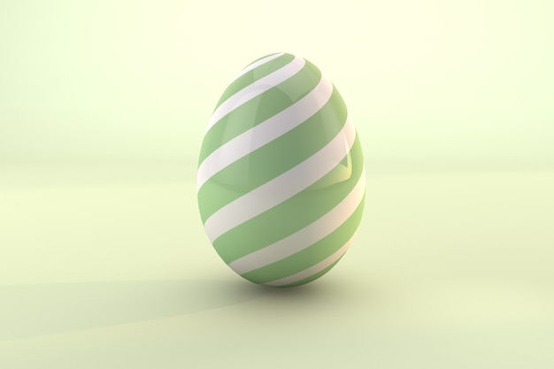 Green easter egg pattern isolated on green pastel background. 3d render a file psd transparent background