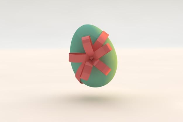 녹색 부활절 달걀 오순절 핑크 리본. 3d 렌더링