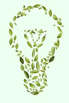 그린 에코 에너지 개념을 닫습니다. 전구. 에너지 절약 및 생태 환경.