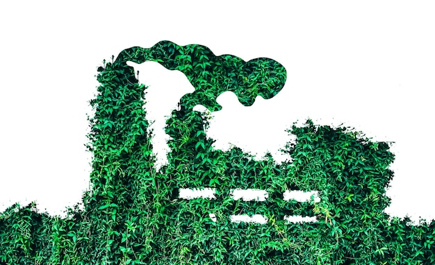 Green eco factory concept. save nature. pollution of the planet. sustainable industrial development