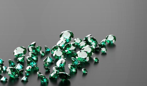 어두운 배경 3d 그림에서 녹색 에메랄드 다이아몬드 그룹