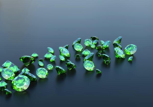 Зеленые изумрудные бриллианты на столе