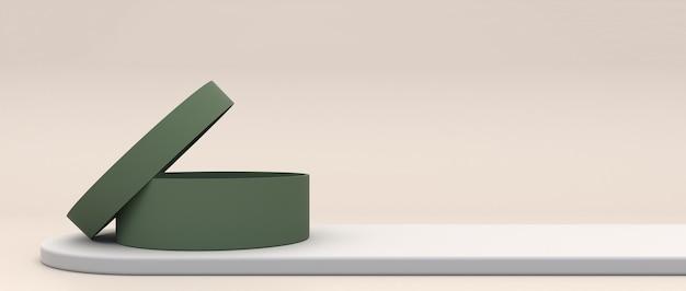 제품 아이디어와 창의력 복사 공간에 대 한 얇은 크림 연단에 녹색 빈 원통형 상자. 3d 렌더링 프리미엄 사진