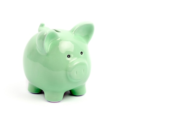 Green empty piggy bank