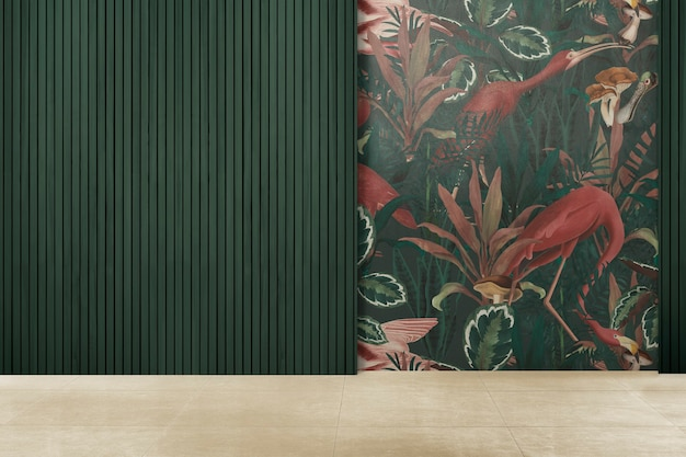 Interior design autentico della stanza vuota verde