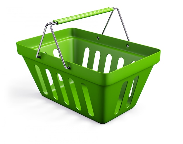 Green empty shop basket isolated