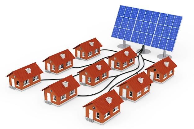 Концепция зеленой энергии. многие дома подключены к солнечной панели на белом фоне. 3d-рендеринг.
