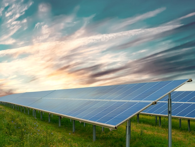 Green energy concept: solar panels in sunny day