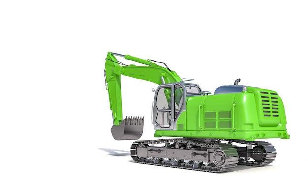 白い表面の緑の掘削機