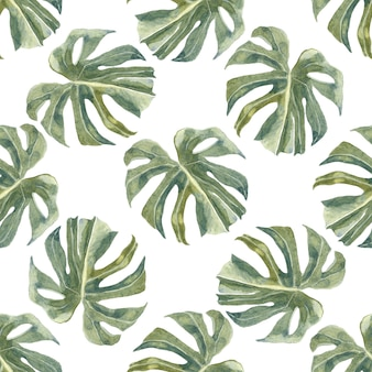 Green exotic branches and leaves seamless pattern. trendy tropical palm leaves. dusty greenery