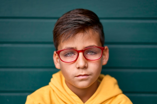 Green eyes kid with red glasses portrait