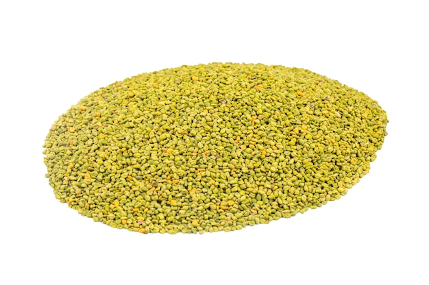 Green fenugreek seeds on white background