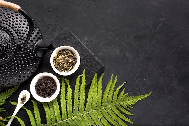 Green fern leaves and dried tea herb with black teapot on black background