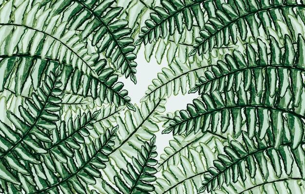 녹색 고사리 열대 잎 수채화 손으로 그린 휴식, 신선한 봄 자연 배경