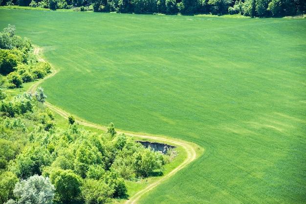 밀의 그린 필드 인근 숲과 시골 길 지나가는