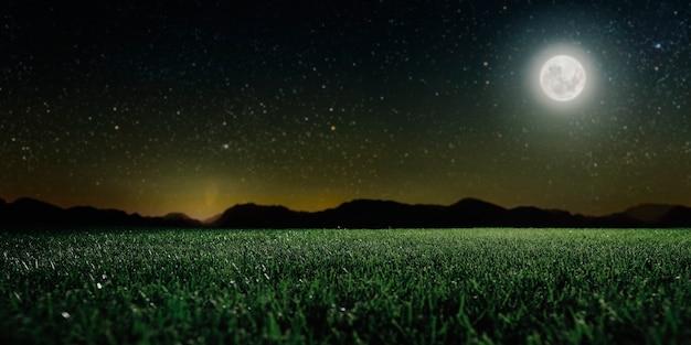Зеленое поле на фоне ночного неба над горой. элементы этого изображения предоставлены наса