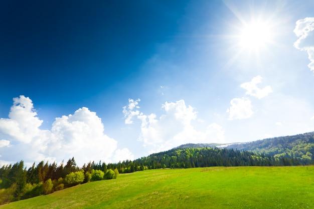 Зеленое поле с сараем, горы
