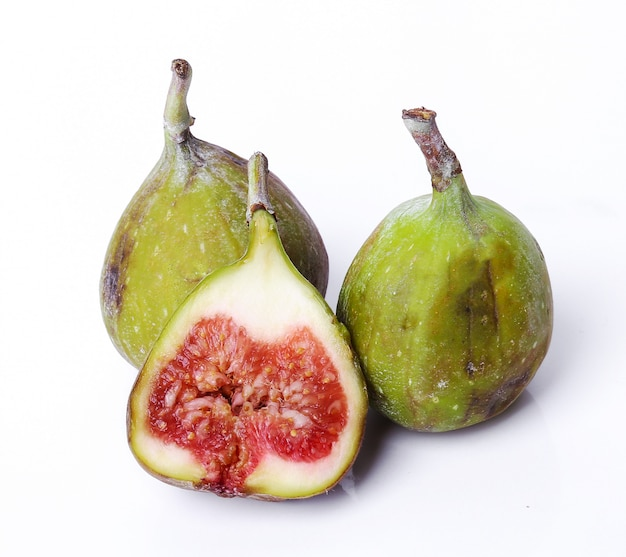 Green fig on white
