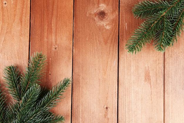 Green fir tree on wooden background