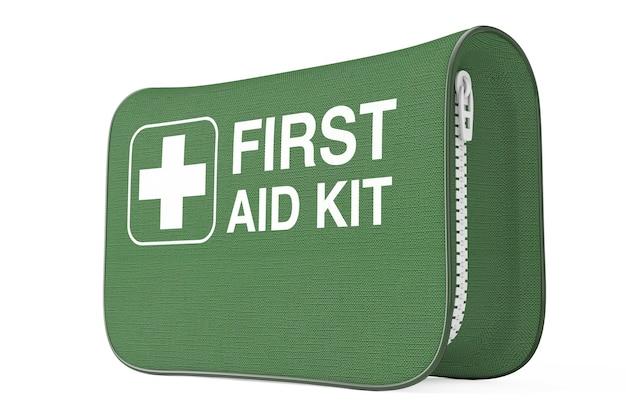 Зеленая мягкая сумка для аптечки с белым крестом на белом фоне. 3d рендеринг