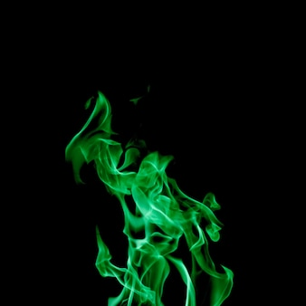 Green flame on black