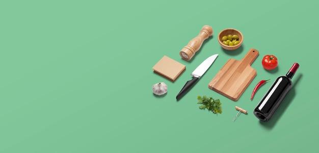 キッチンやイタリアンレストランでの食品準備アイテムと緑のflatlay平面図視点シーン