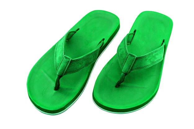 Green flip flops isolated on white background. file contains with clipping path so easy to work.