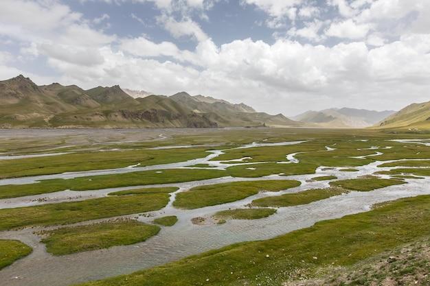 Зеленые затопленные равнины горная долина