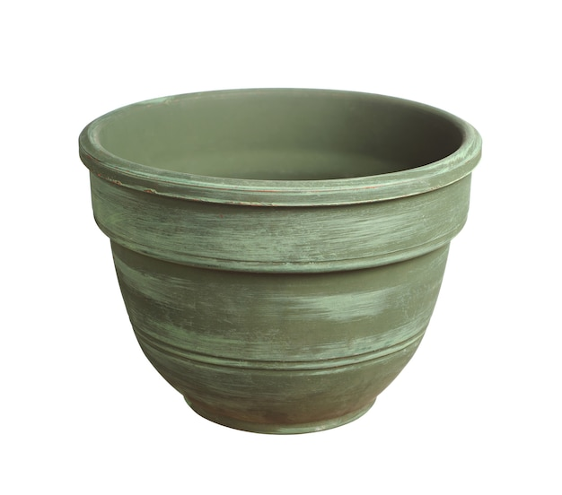 Green flower pot isolated on white background
