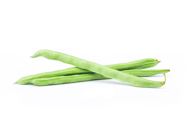 Green french beans isolated on white