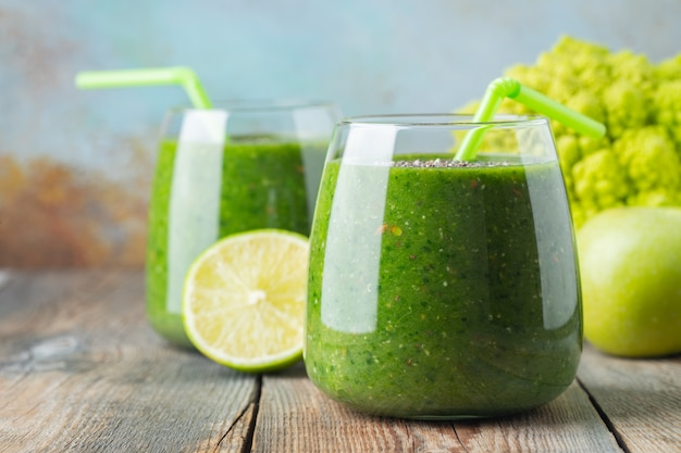 Green fresh healthy smoothie. diet detox concept.