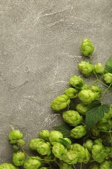 Зеленые свежие шишки хмеля для приготовления пива и хлеба на сером фоне. вертикальное фото