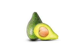 Green fresh whole avocado isolated on white