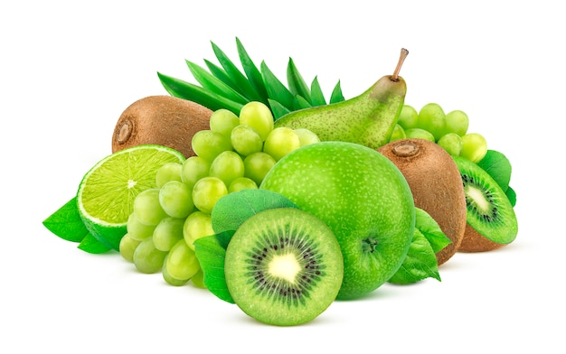 Green fruits and berries isolated on white background