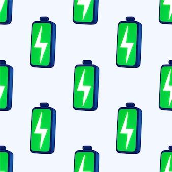 Зеленый полный аккумулятор бесшовные узор на белом фоне.
