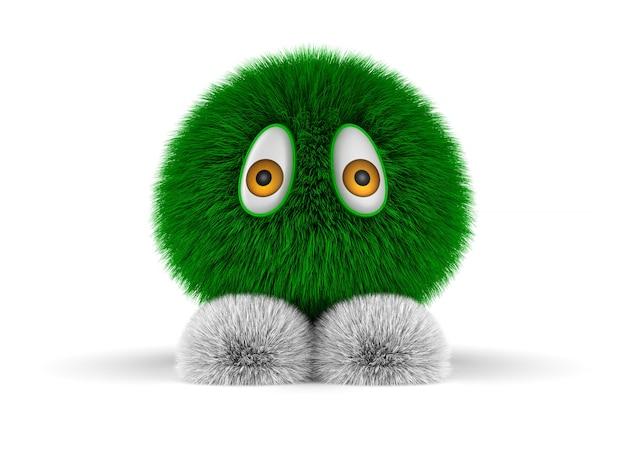 白い背景の上の緑の毛皮のようなモンスター。分離された3dイラスト