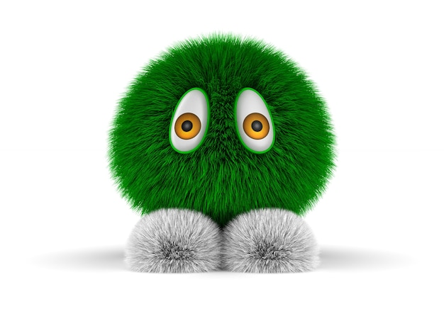 Green furry monster on white background. isolated 3d illustration