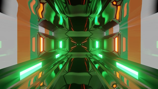 Green futuristic lights of corridor with flag of ireland as 3d illustration in 4k uhd
