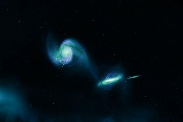 Зеленая галактика в глубоком космосе. элементы этого изображения предоставлены наса. фото высокого качества