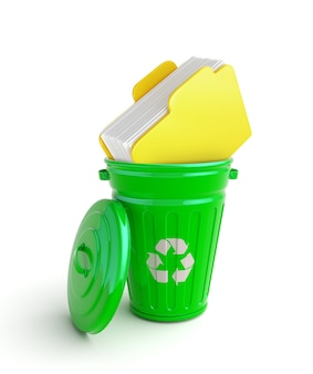 Green garbage bin with documents