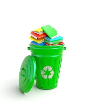 Green garbage bin with notebooks