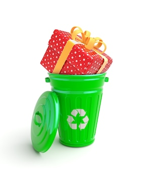 Green garbage bin with present