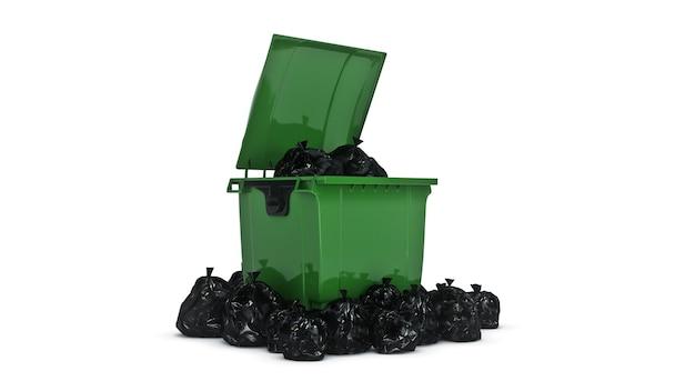緑のゴミ容器の3dレンダリング