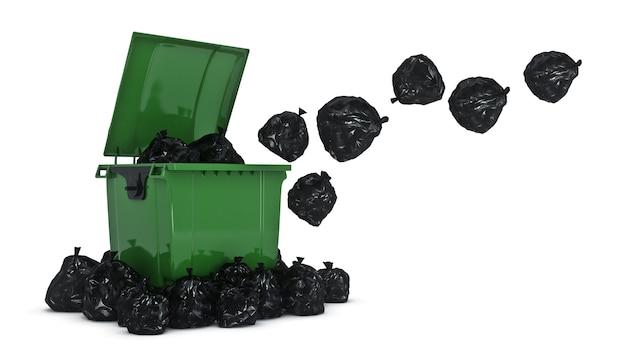 Зеленые мусорные контейнеры 3d-рендеринга