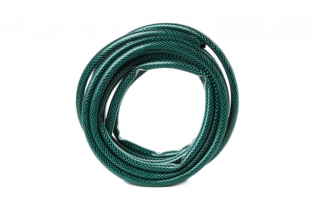 Green garden hose isolated on white isolated
