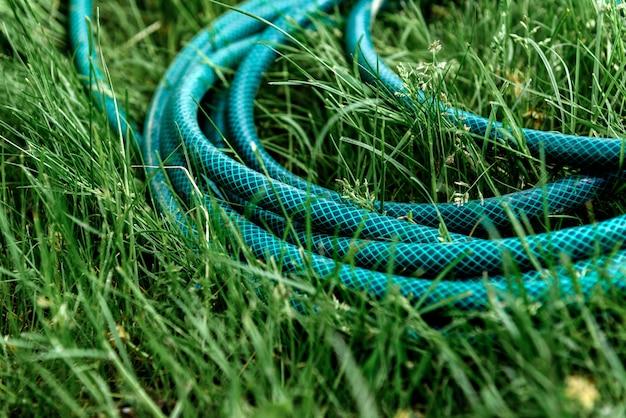 Зеленый садовый шланг на траве.