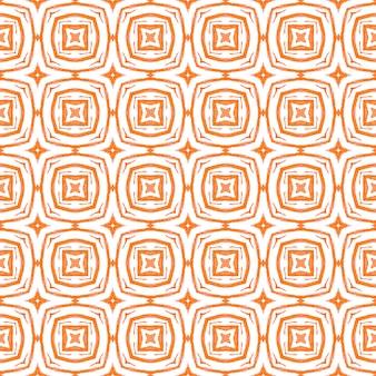 緑の幾何学的なシェブロン水彩ボーダー。オレンジの珍しい自由奔放に生きるシックな夏のデザイン。シェブロン水彩パターン。テキスタイルレディポジティブプリント、水着生地、壁紙、ラッピング。