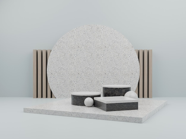Green geometric shape with marble podium for product display