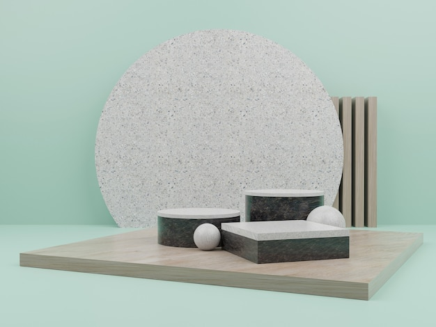 Green geometric shape with podium for product display